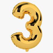 Balon foliowy cyfra trzy złote 3d model