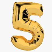Foil Balloon Digit Five Gold modelo 3d