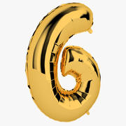 Foil Balloon Digit Six Gold 3d model