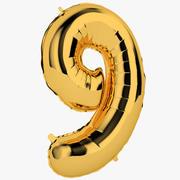 Balon foliowy Dziewięć złotych 3d model