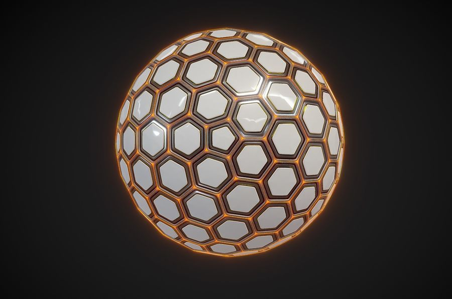 Научно-фантастическая Гекса Сфера (1) royalty-free 3d model - Preview no. 3