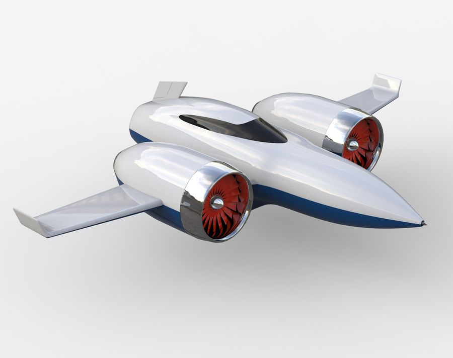 Concept aircraft royalty-free 3d model - Preview no. 1
