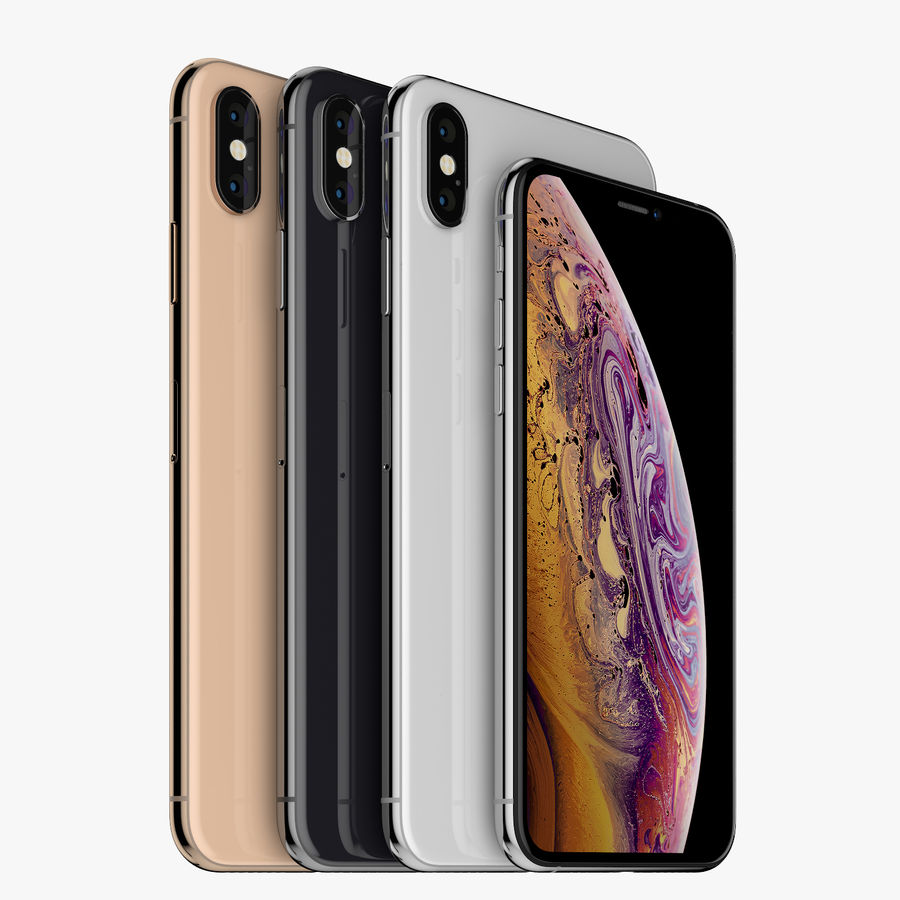Apple iPhone Xs and Xs Max (all colours) royalty-free 3d model - Preview no. 4