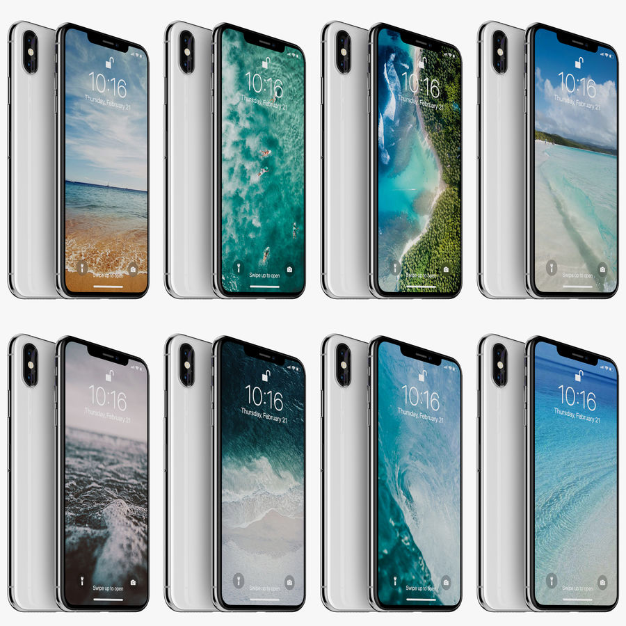 Apple iPhone Xs and Xs Max (all colours) royalty-free 3d model - Preview no. 8