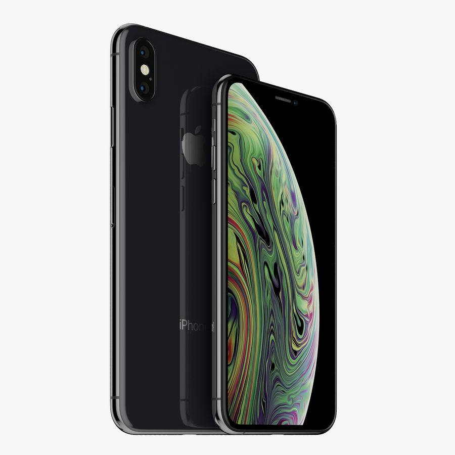 Apple iPhone Xs and Xs Max (all colours) royalty-free 3d model - Preview no. 12
