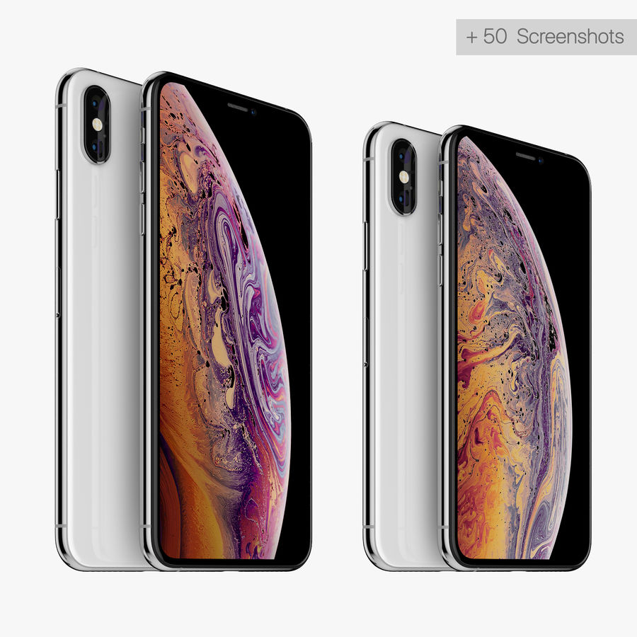 Apple iPhone Xs and Xs Max (all colours) royalty-free 3d model - Preview no. 1