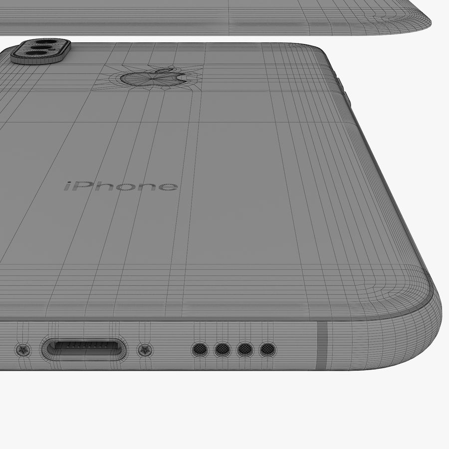 Apple iPhone Xs and Xs Max (all colours) royalty-free 3d model - Preview no. 33