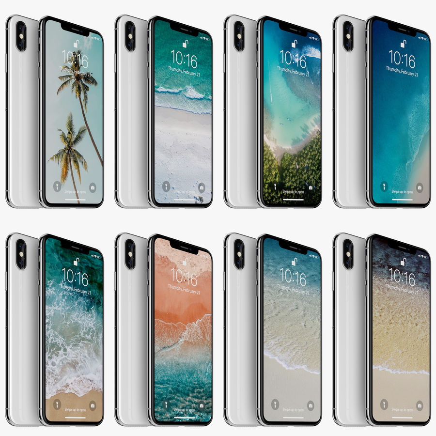 Apple iPhone Xs and Xs Max (all colours) royalty-free 3d model - Preview no. 7