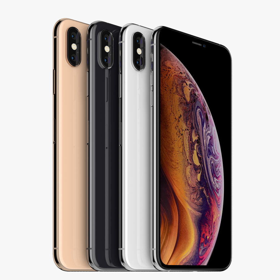Apple iPhone Xs and Xs Max (all colours) royalty-free 3d model - Preview no. 3