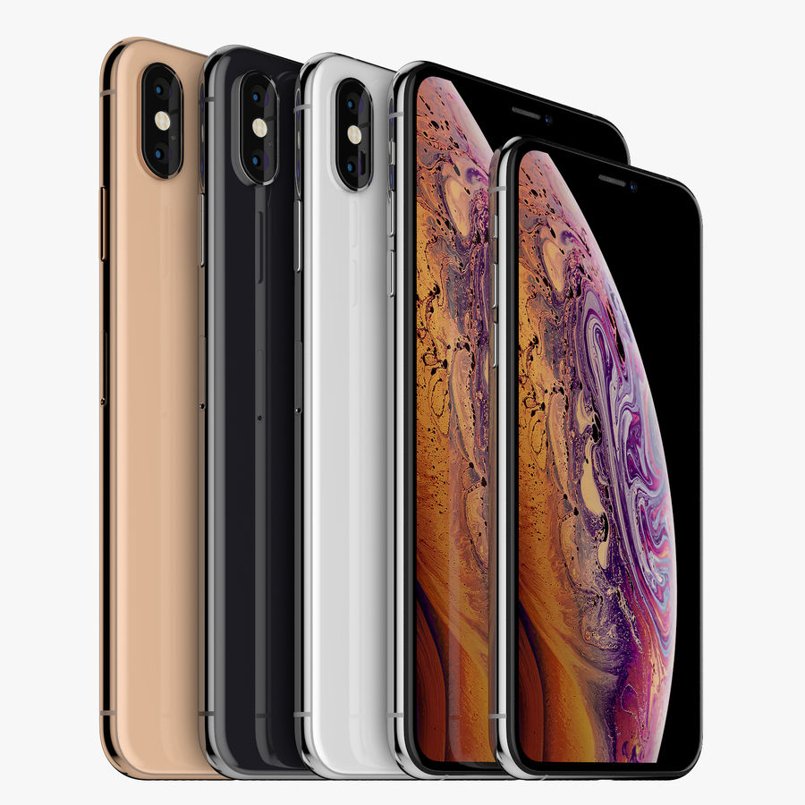 Apple iPhone Xs and Xs Max (all colours) royalty-free 3d model - Preview no. 2