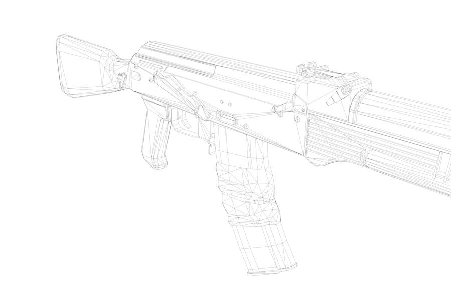 АК-47-M royalty-free 3d model - Preview no. 11