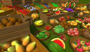 Frutas y verduras con bajo contenido de pintura, accesorios pintados a mano. modelo 3d