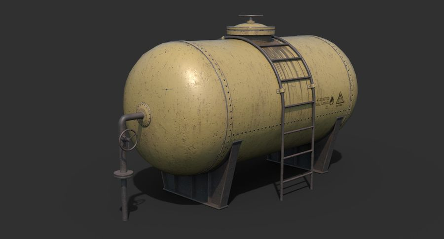 Oil Tank Containers Low Poly royalty-free 3d model - Preview no. 10