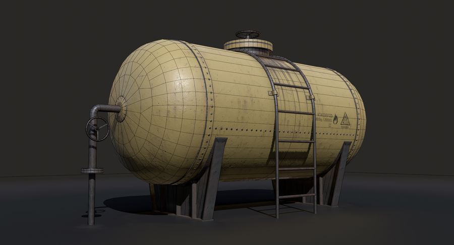 Oil Tank Containers Low Poly royalty-free 3d model - Preview no. 11