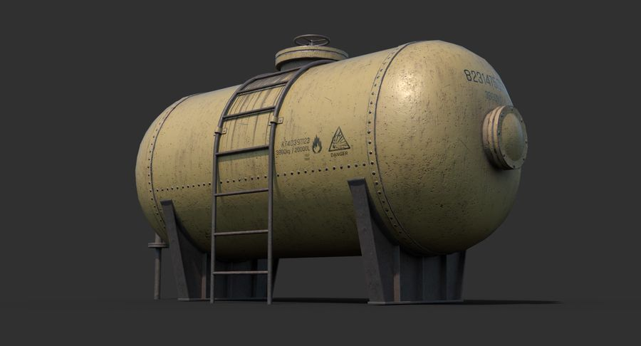 Oil Tank Containers Low Poly royalty-free 3d model - Preview no. 6