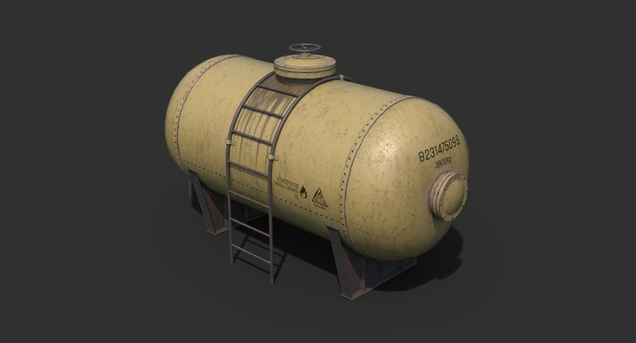 Oil Tank Containers Low Poly royalty-free 3d model - Preview no. 2