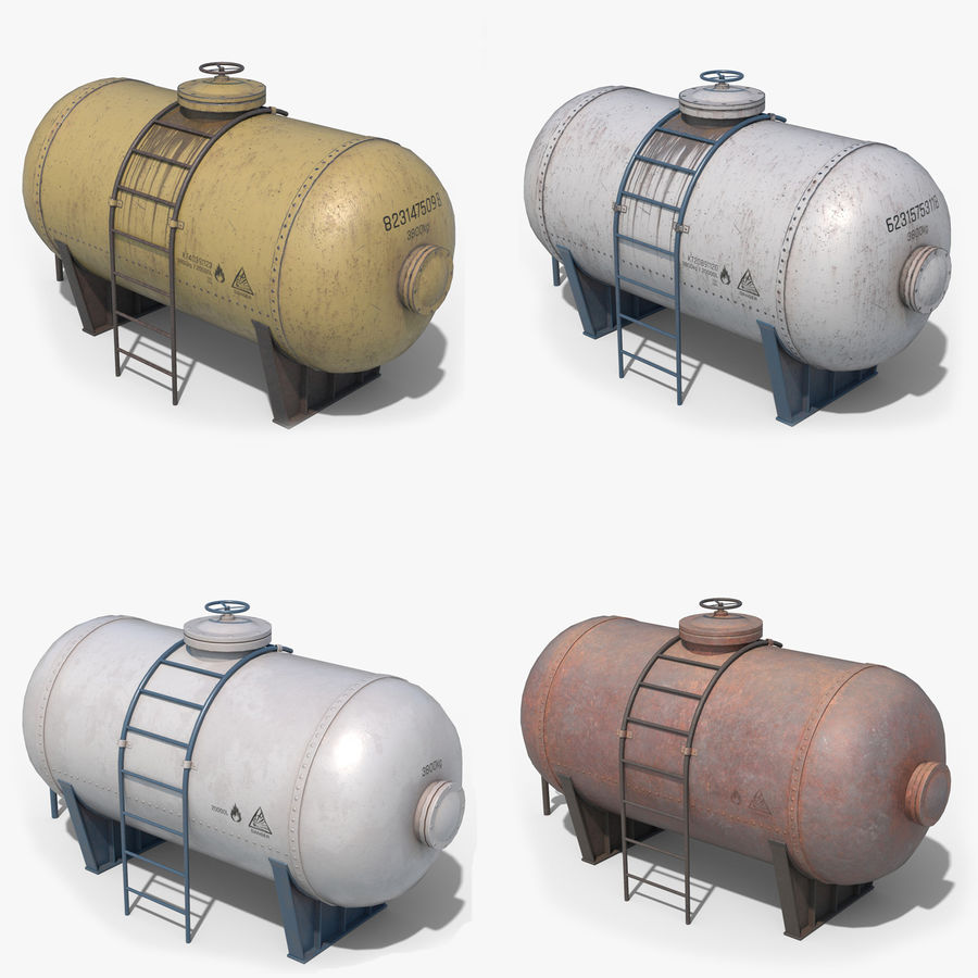 Oil Tank Containers Low Poly royalty-free 3d model - Preview no. 1