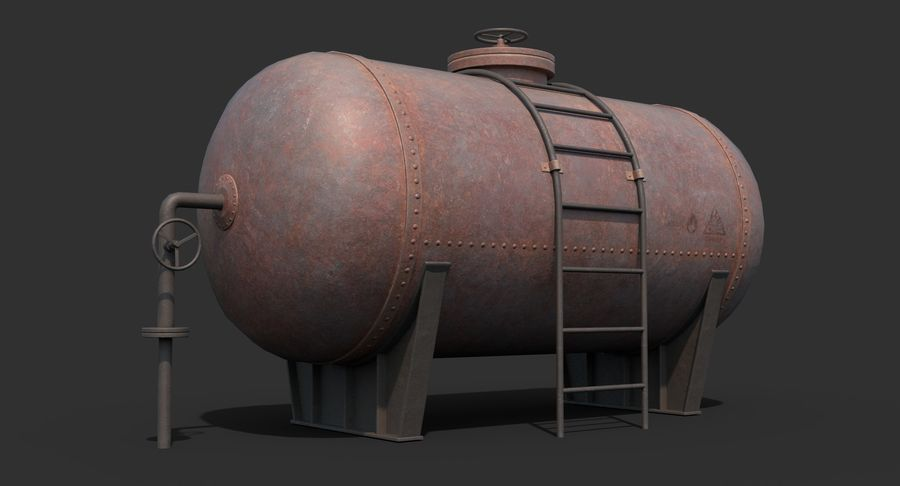 Oil Tank Containers Low Poly royalty-free 3d model - Preview no. 5