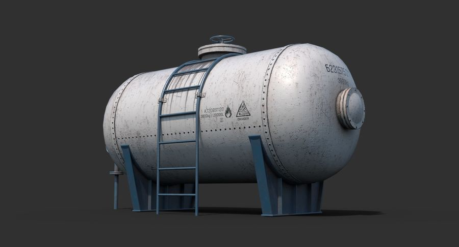 Oil Tank Containers Low Poly royalty-free 3d model - Preview no. 3