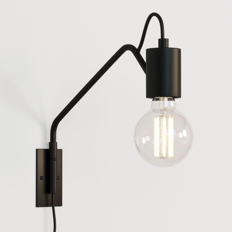 Lampade Da Parete Con Braccio lampada da parete con braccio flessibile nero modello 3d $11