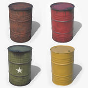 Steel Barrels Low Poly 3d model