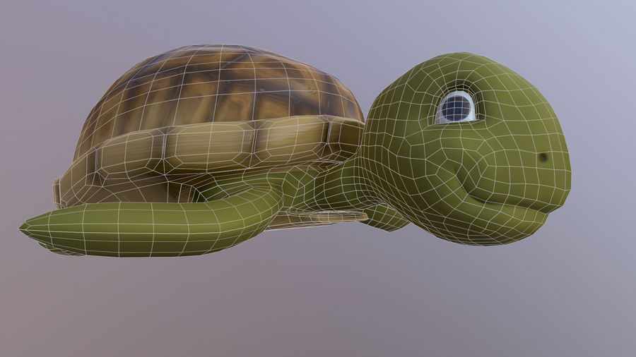 Cartoon Low Poly Sea Turtle royalty-free 3d model - Preview no. 10