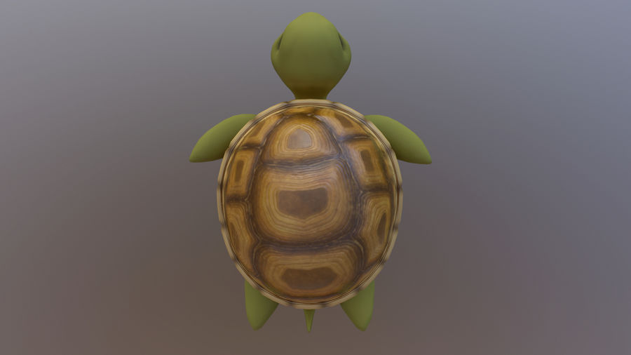 Cartoon Low Poly Sea Turtle royalty-free 3d model - Preview no. 3