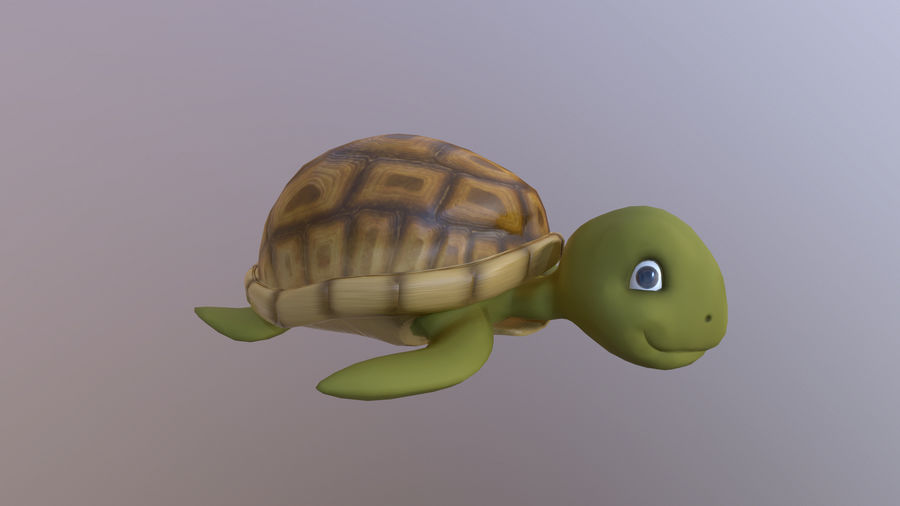Cartoon Low Poly Sea Turtle royalty-free 3d model - Preview no. 1