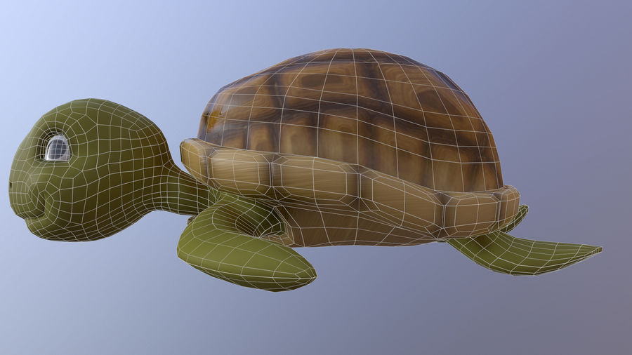Cartoon Low Poly Sea Turtle royalty-free 3d model - Preview no. 7