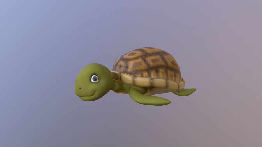 Cartoon Low Poly Sea Turtle royalty-free 3d model - Preview no. 2