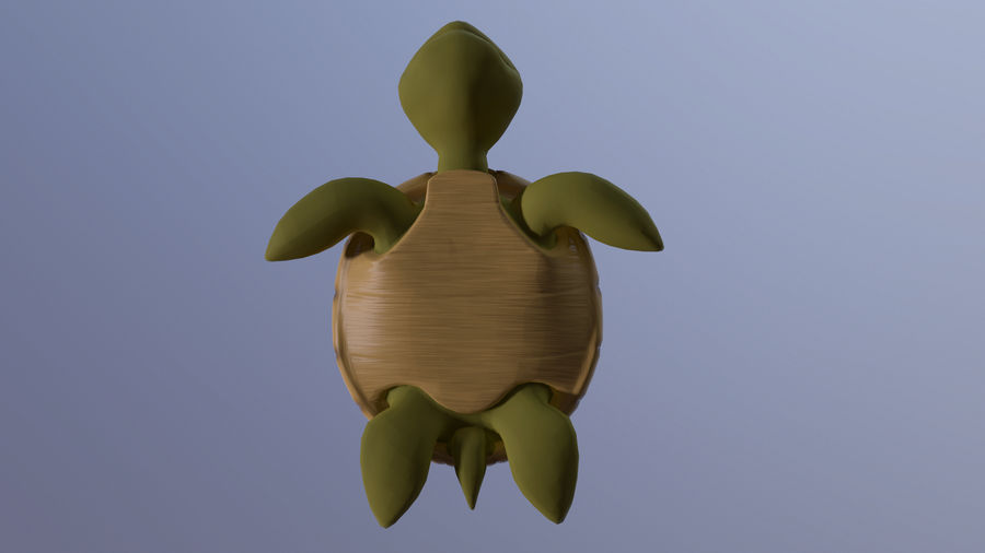 Cartoon Low Poly Sea Turtle royalty-free 3d model - Preview no. 6