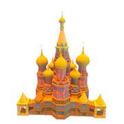 Russian Church Temple lowpoly 3d model