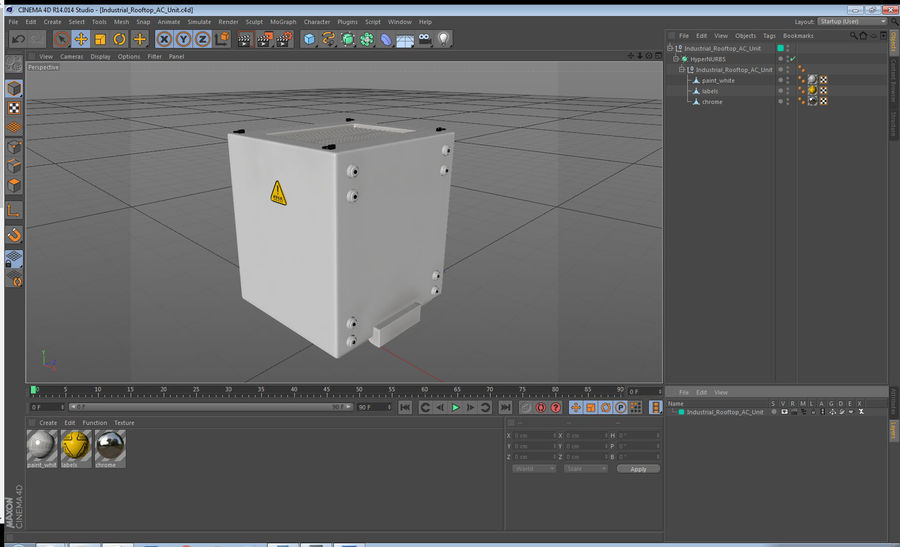 Industrial Rooftop AC Unit royalty-free 3d model - Preview no. 12