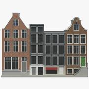 Conjunto de casas de Amsterdam modelo 3d