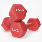 Kunststoff Fitness Hanteln 1,5 kg 3d model