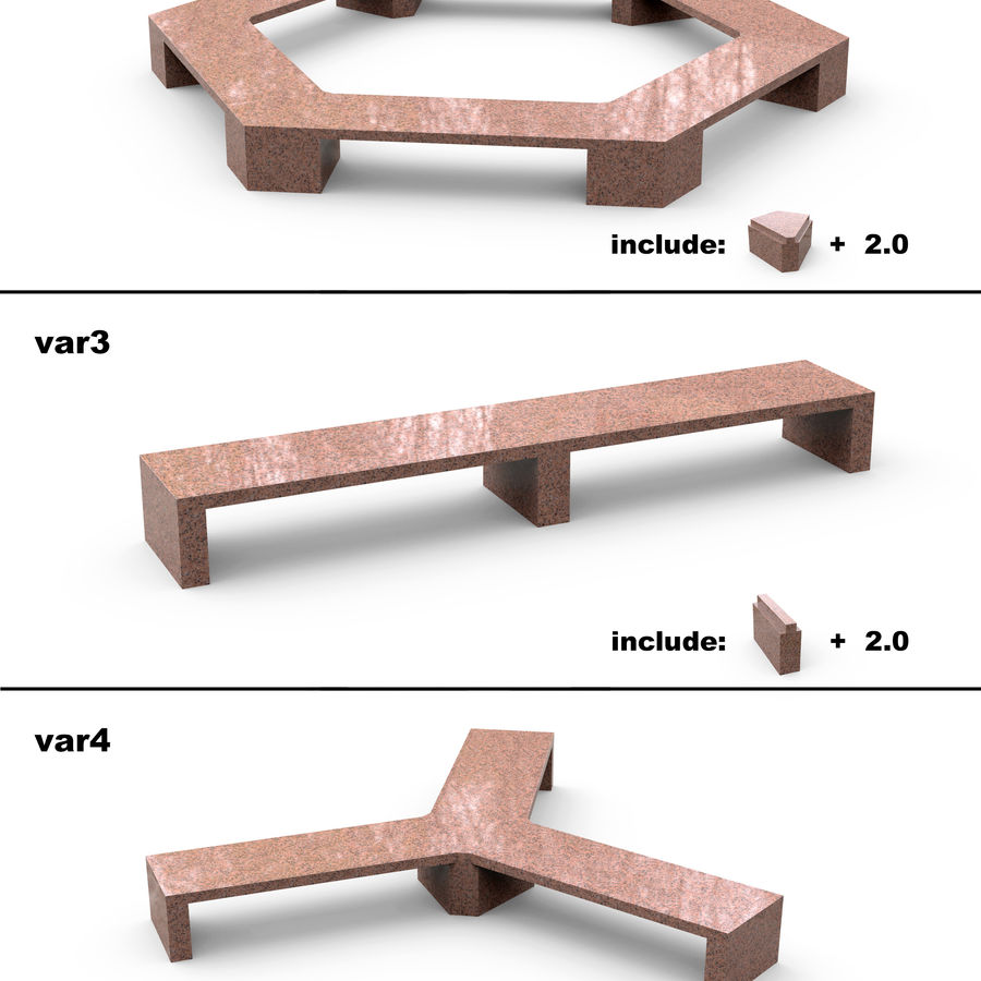 Stone bench set (27 models) royalty-free 3d model - Preview no. 5