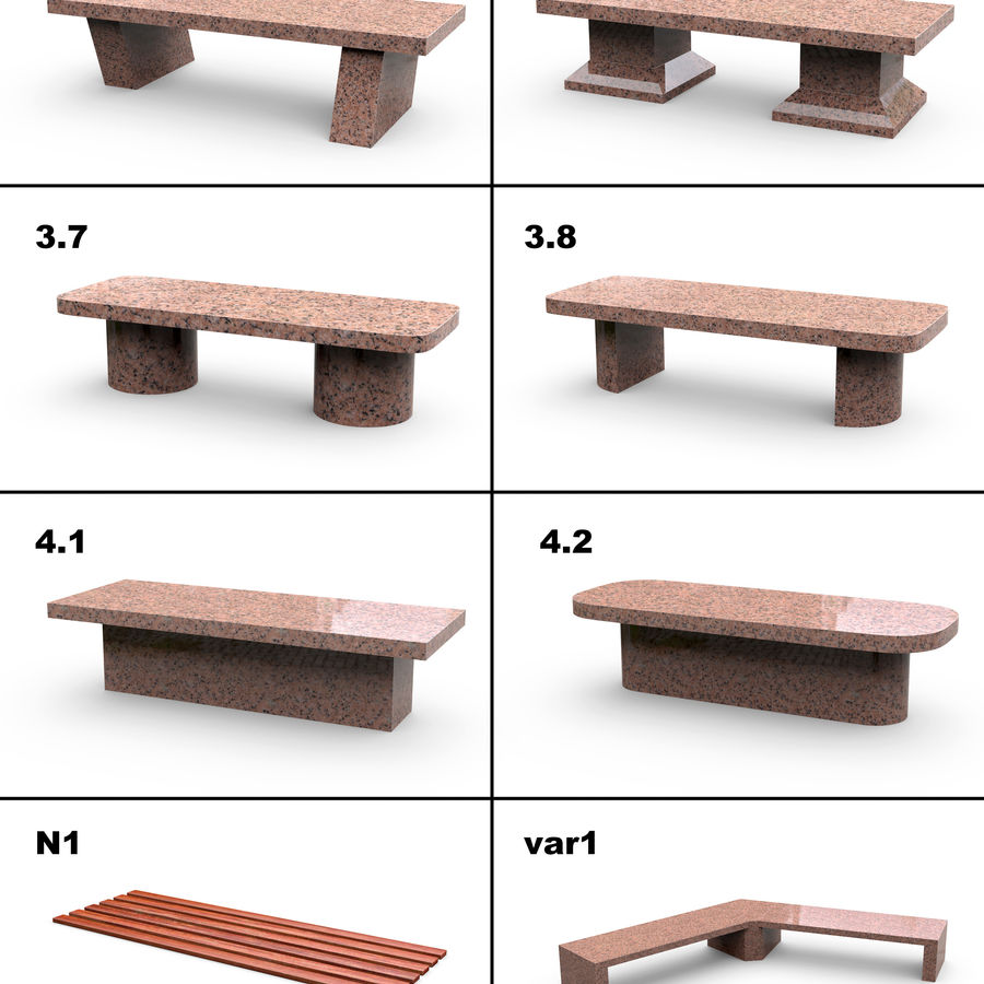 Stone bench set (27 models) royalty-free 3d model - Preview no. 4