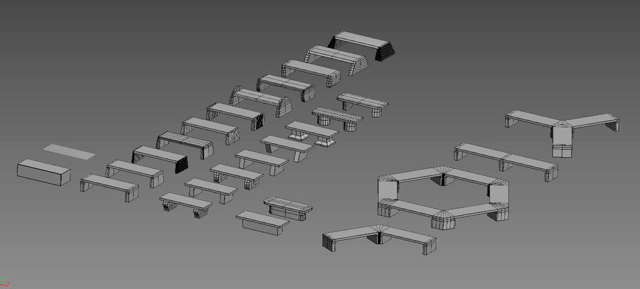 Stone bench set (27 models) royalty-free 3d model - Preview no. 8