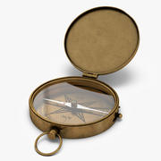 Bússola de bronze antiga de bolso 3d model
