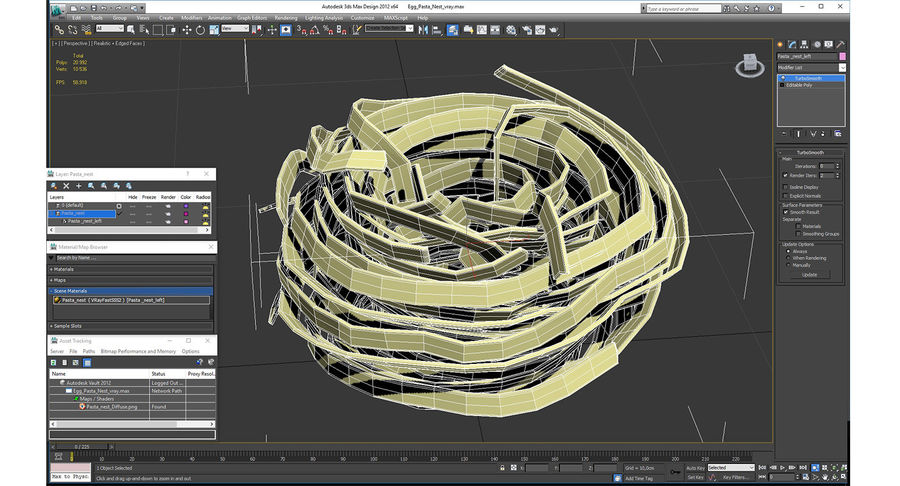 Egg Pasta Nest royalty-free 3d model - Preview no. 13