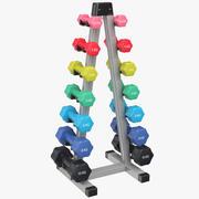 Estante de pesas con mancuernas de colores modelo 3d