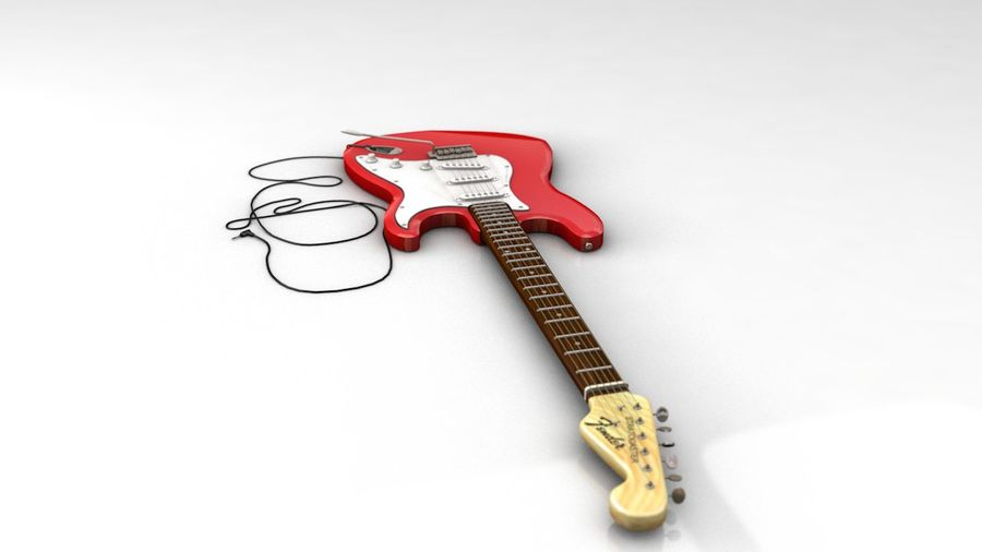 Electric Guitar Fender Stratocaster royalty-free 3d model - Preview no. 4