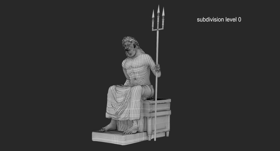 Standbeeld van Poseidon royalty-free 3d model - Preview no. 13