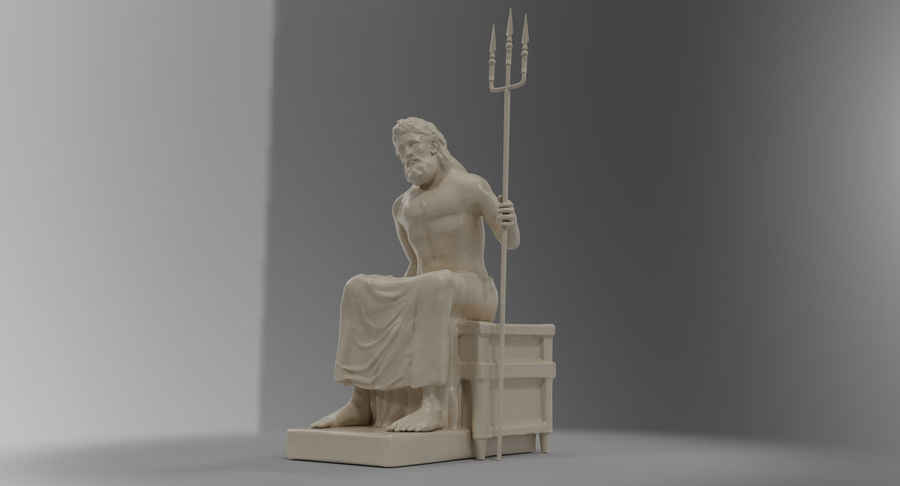 Standbeeld van Poseidon royalty-free 3d model - Preview no. 3