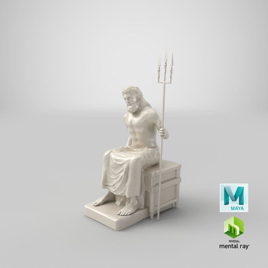 Standbeeld van Poseidon royalty-free 3d model - Preview no. 17