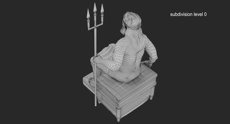 Staty av Poseidon royalty-free 3d model - Preview no. 10