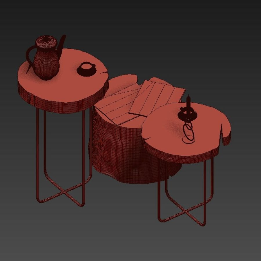 A set of tables from slab and stumps royalty-free 3d model - Preview no. 12