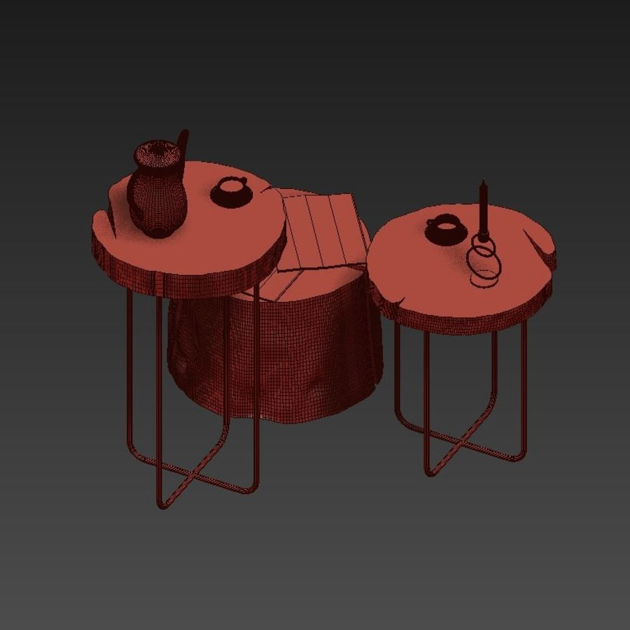 A set of tables from slab and stumps royalty-free 3d model - Preview no. 11