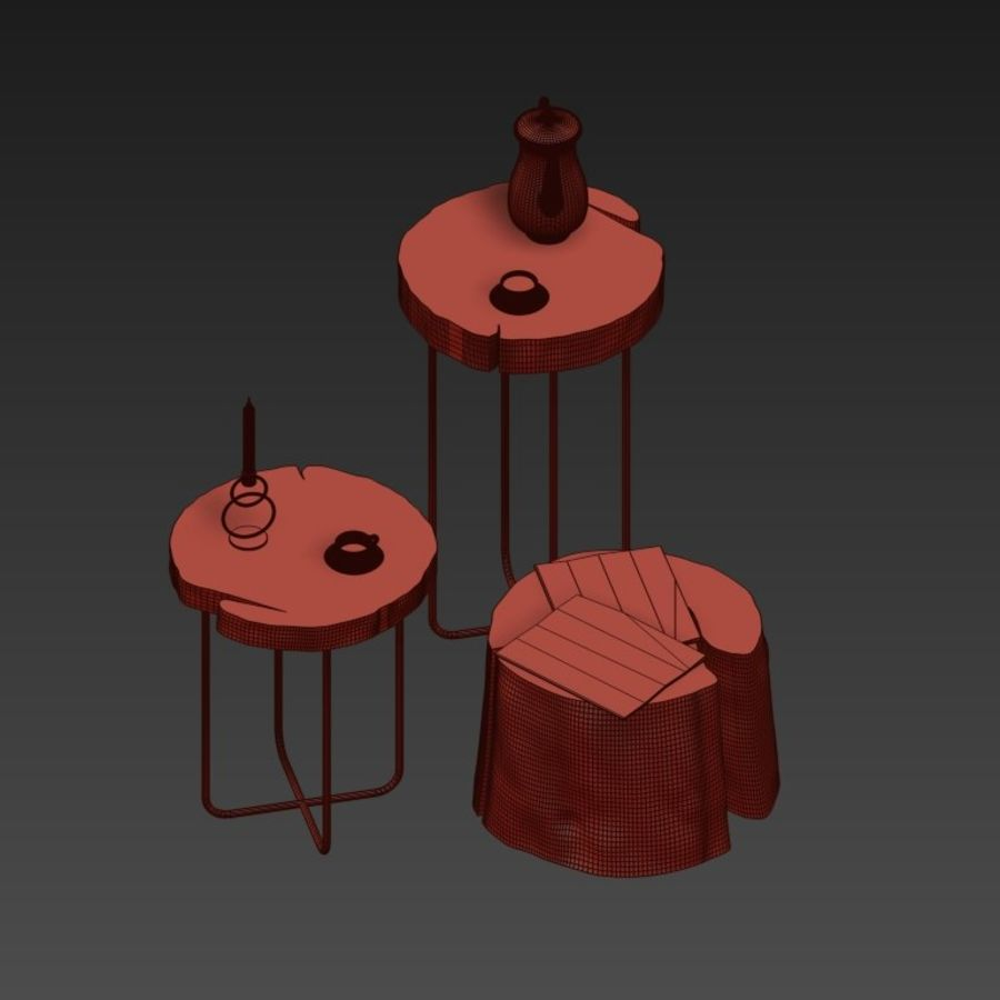 A set of tables from slab and stumps royalty-free 3d model - Preview no. 4