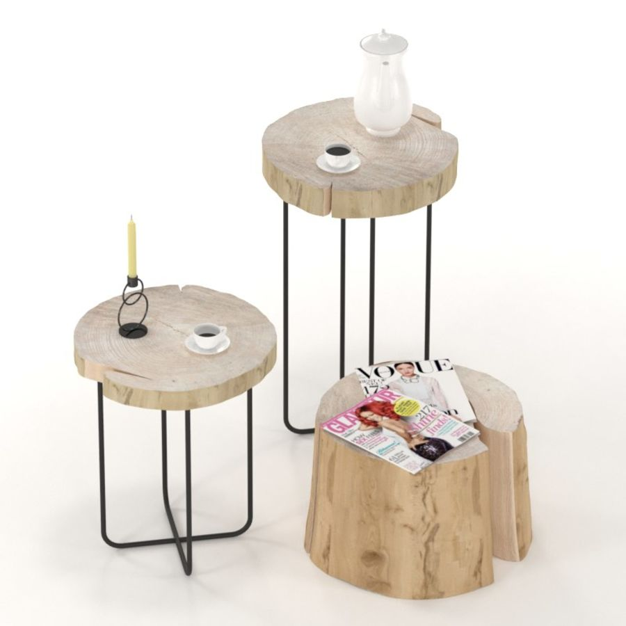 A set of tables from slab and stumps royalty-free 3d model - Preview no. 1